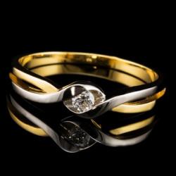 Pierścionek z żółto-białego złota z brylantem