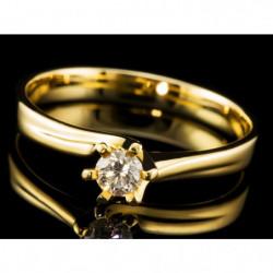 Pierścionek z żółtego złota z brylantem