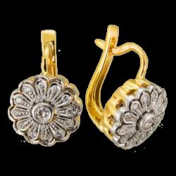 Kolczyki z żółtego złota z brylantami KOMPLET