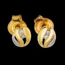 Kolczyki z żółtego złota z cyrkoniami KOMPLET