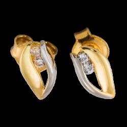 Kolczyki z żółto-białego złota z cyrkoniami KOMPLET