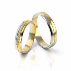 Obrączki z żółto-białego złota z cyrkoniami PARA