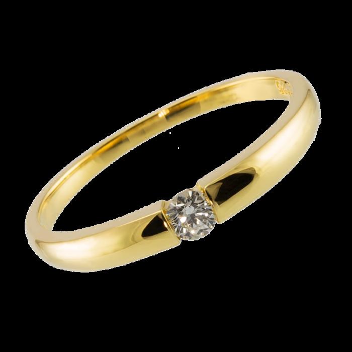 Złoty pierścionek zaręczynowy z brylantem wykonany z żółtego złota próby 585